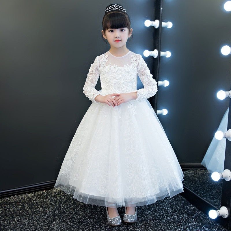 New Children Girls Pure White Solid Color Children Girls Flowers Princess Lace Ball Gown Dress Wear For Birthday Wedding Party 2017 new high quality girls children white color princess dress kids baby birthday wedding party lace dress with bow knot design
