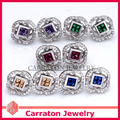 Carraton ESQDX2051 Colorful CZ Cystal Real 925 Silver Flower Stud Earrings