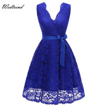 Wedtrend Asymmetrical Neck Lace Elegant Women's Dress Sashes Dress Female New Arrival Free Delivery Cheaps Vintage Ladys Dresses