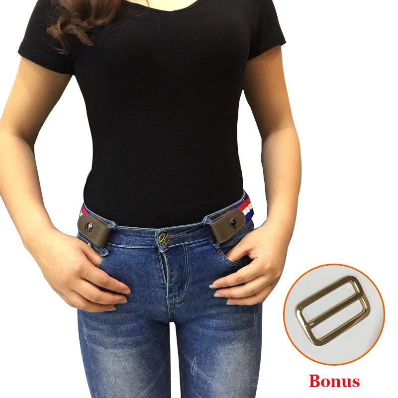 Hebilla de cinturón elástico para Jean vestidos No hebilla estiramiento cinturón elástico para las mujeres hombres No Bulge sin complicaciones cinturón