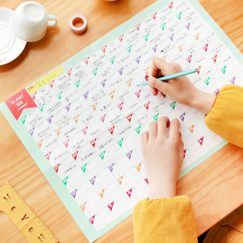 5 Pcs New Style 100 days Countdown Calendar Schedule Learning Schedule Goals Table Work Schedule Struggle Planner Table Supplies