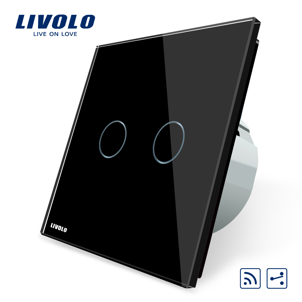 Livolo EU standard Remote Switch, VL-C702SR-12,2 Gang 2 Way Wireless Remote Wall Light Remote Switch, Black Crystal Glass Panel