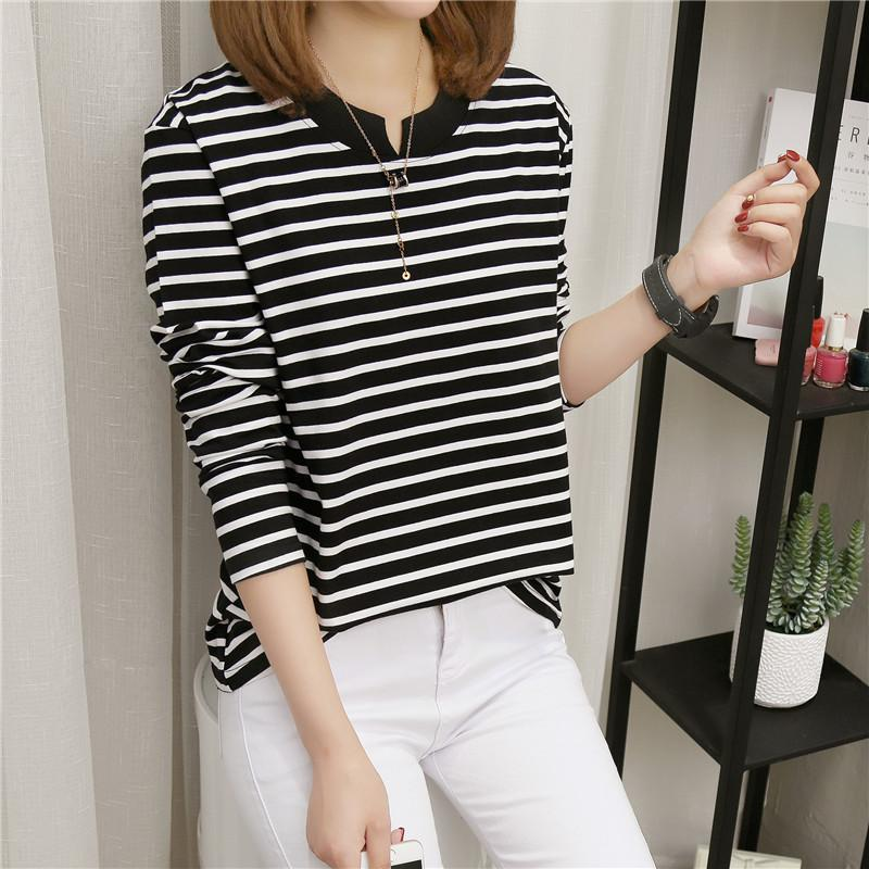 NFIVE Brand 2017 Women's Stripe Loose T-shirts Korean Autumn New Long Sleeved Large Size Shirt Quality Fashion Cotton T-shirt 3
