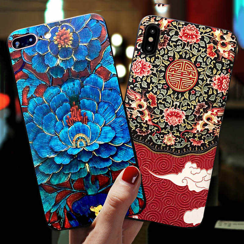 Totviss Case 3D Emboss Palace style Patterned Phone Case For