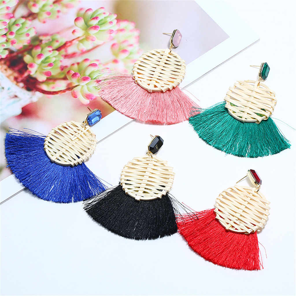 Fashion Bohemian Tassel Vintage Statement Drop Earrings for Women Black Red Yellow Big Dangle Fringe Earrings 2019 Jewelry