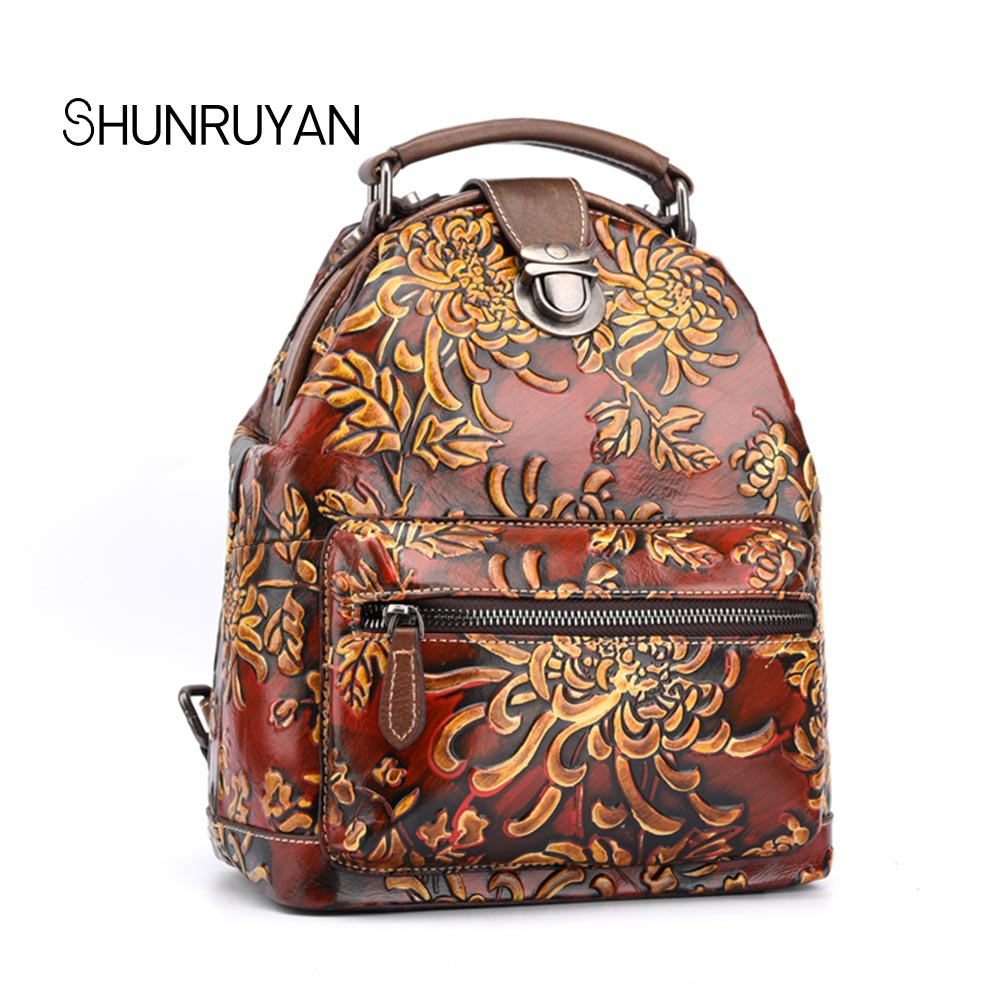 SHUNRUYAN New Famous brand Women Handmade Floral Printing school bags cowhide le
