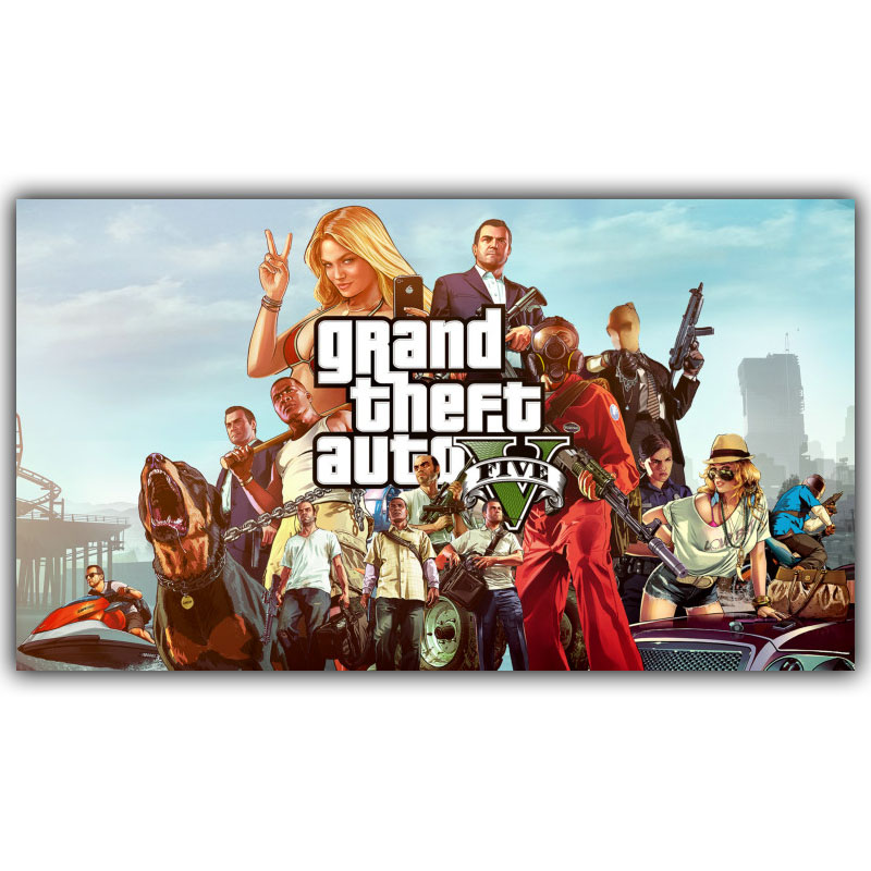 Grand Theft Auto V GTA 5 Game Hot Artistic Silk Fabric Poster Print 30x53 50x89cm Room Decor