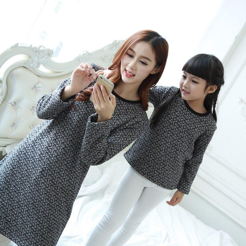2016 Autumn Korean version mother daughter clothes plus velvet thick warm long sleeve T-shirt factory direct wholesale