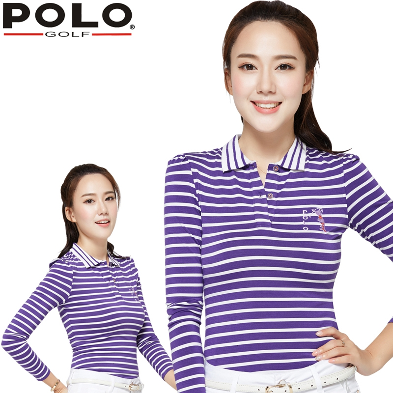 Brand POLO. Ladies Golf T-Shirts, Women Long-sleeve Sexy Sports Apparel for Spring and Autumn. Women Workout Polo Shirt, Fitness
