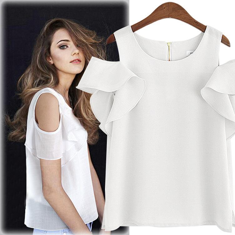 c9670dc6274de Summer New Fashion Short Sleeve Chiffon Blouse Casual Solid White Shirts  Women off Shoulder Tops Ruffles Ladieswear Clothes-in Blouses   Shirts from  Women s ...