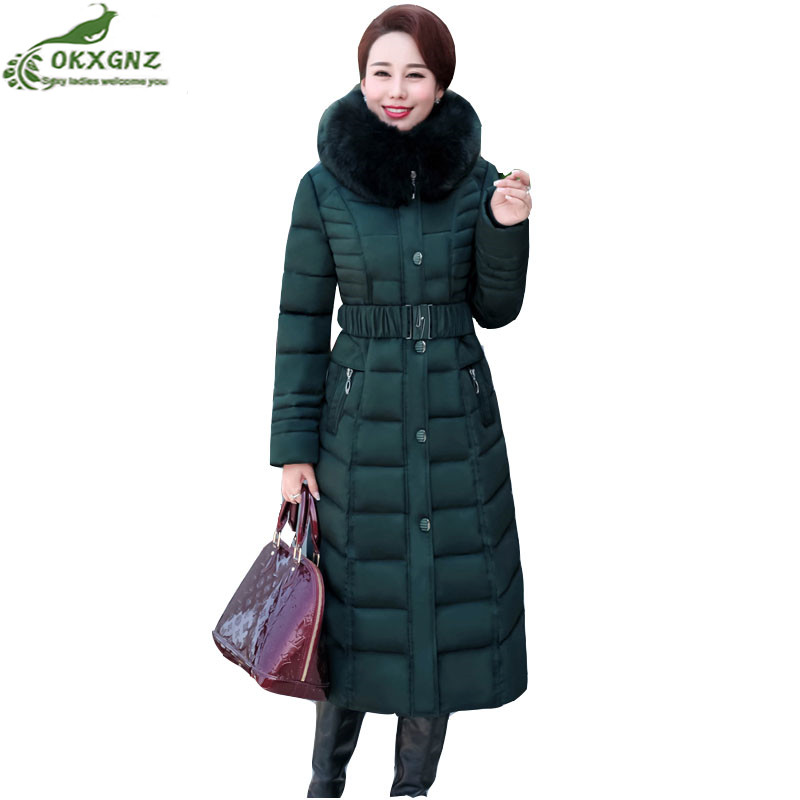 Autumn winter new down cotton Outerwear women long section Plus size leisure jacket coat Middle age Thickening warm coat OKXGNZ women winter down jacket coat wadded jacket middle age women thickening outerwear female down coat vestidos