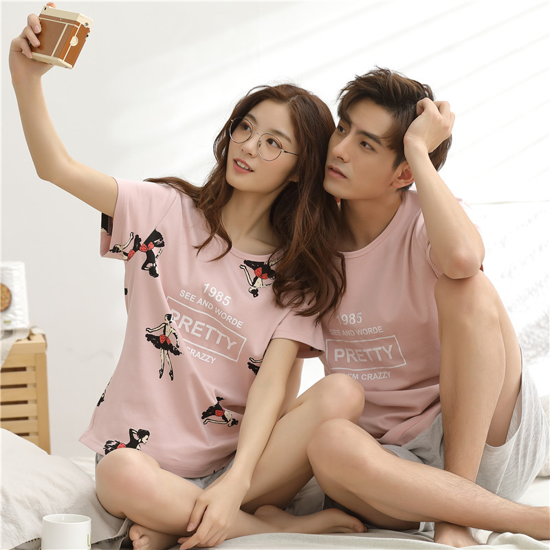 Home Men's Clothing Loosely Printed Couple Pajamas Sets Lounge Wear For Men Sweet Lovely Simple Pure Pornographic Couple Pajamas