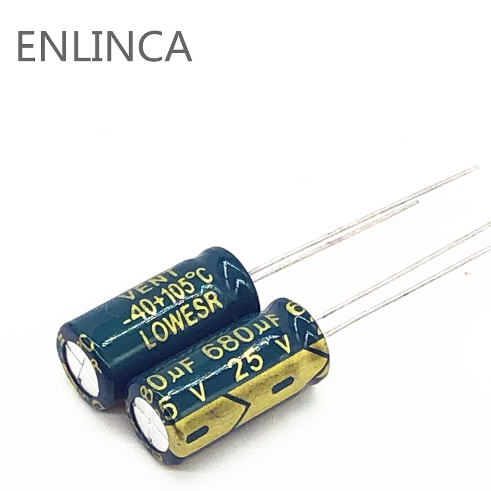 10pcs/lot Q01 25V 680UF Low ESR/Impedance High Frequency Aluminum Electrolytic Capacitor Size 8*16 680UF25V 20%