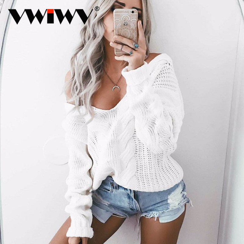 VWIWV Fashion 2018 Autumn And Winter Solid Sweater One Shoulder Long Sleeve Sweaters Swxy White Sweater Deep V Swearters ...