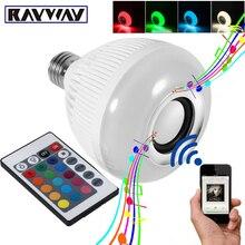 RAYWAY Inteligente RGBW Regulable Bombilla Altavoz Bluetooth Reproducción de Música Inalámbrica 12 W E27 Bombilla LED Lámpara de Luz con 24 Teclas de Control Remoto Control