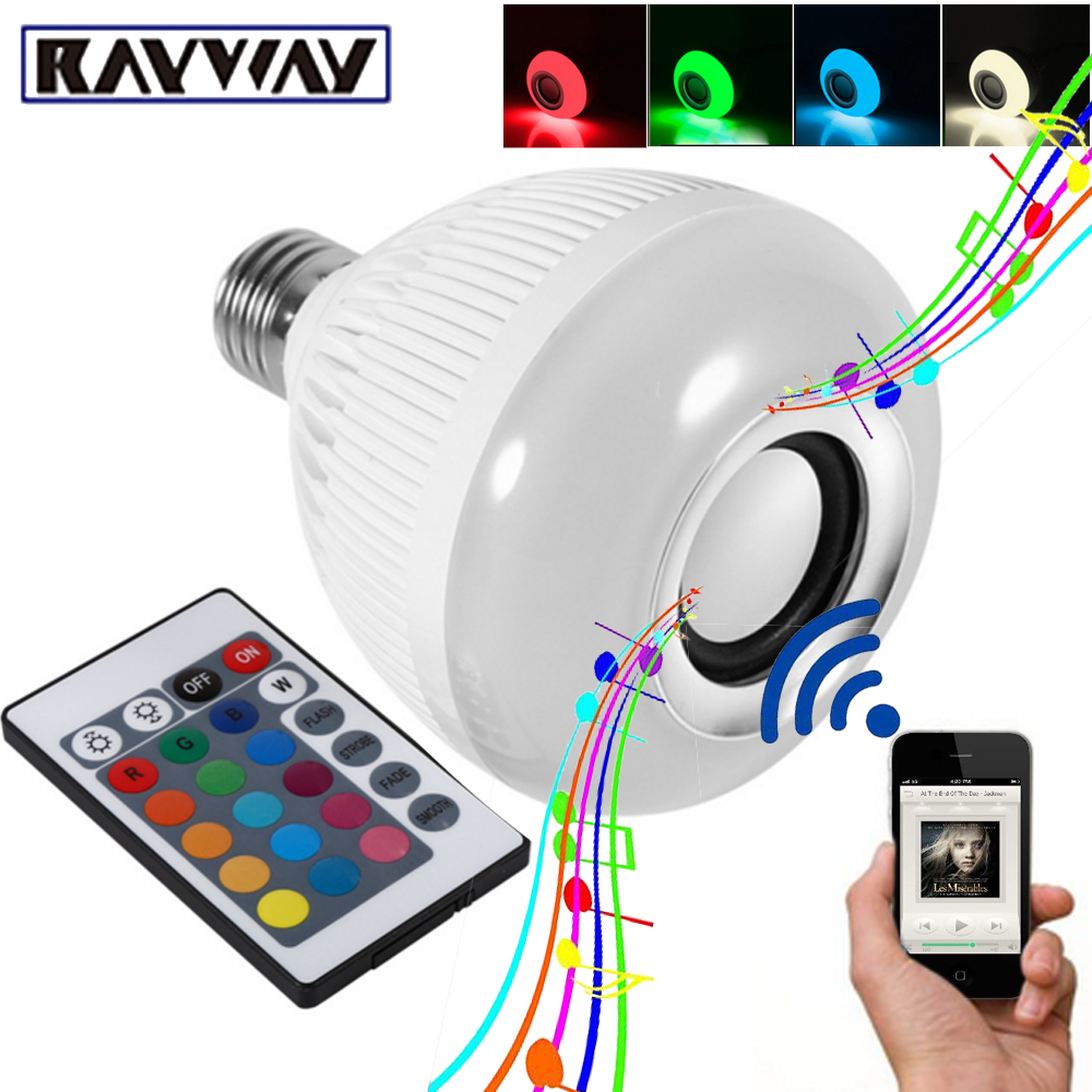 RAYWAY Smart RGBW Wireless Bluetooth Speaker Bulb Xmas Music Playing Dimmable 12W E27 LED Bulb Light Lamp 24 Keys Remote Control
