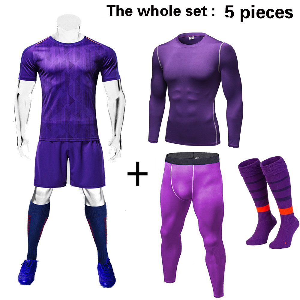 Men 5pcs Soccer Jerseys The Whole Set with Compression and Socks Football kit Training Suits Coutomzied