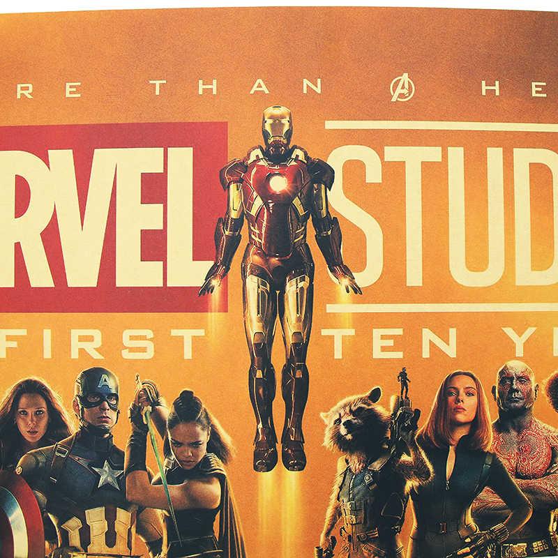 DLKKLB Marvel Film Poster Vintage Avengers 10th Anniversary B Stil Kraft Papier Dekorative Malerei Bar Cafe Home Wand Aufkleber