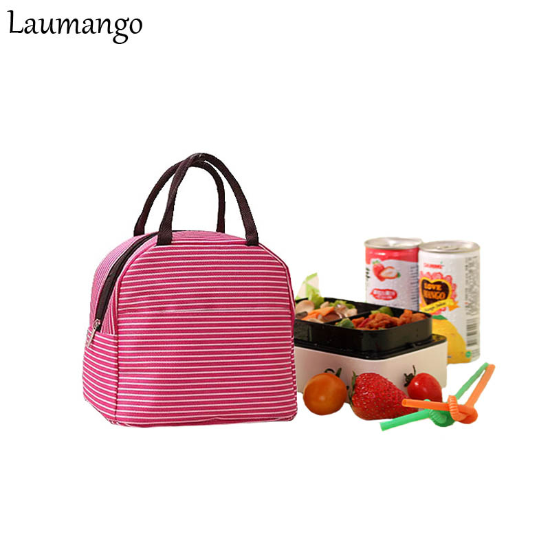 Laumango Stripe Bento Portable Insulated Canvas lunch Bag Thermal Food Picnic Lunch Bags for Women kids Cooler Lunch Box Tote