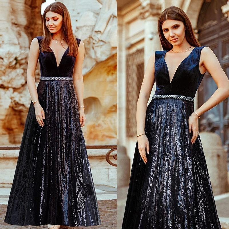 Evening Dresses Long Ever Pretty EP07840 Sexy Deep V-neck Beading Sequined Sparkle New Formal Party Gowns 2020 Abendkleider