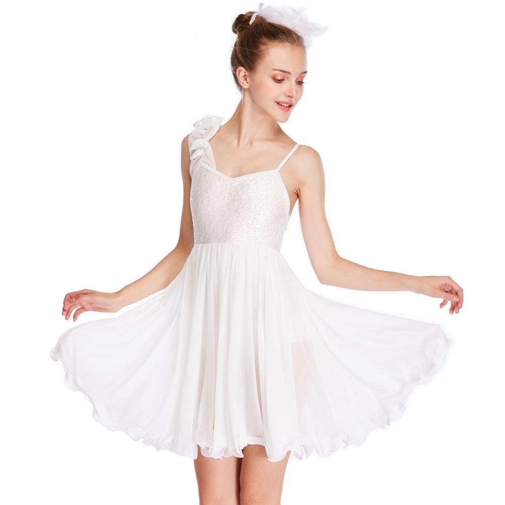 Fille adulte élégant drapé maille robe patinage Performance compétition Costumes Ballet lyrique danse robe