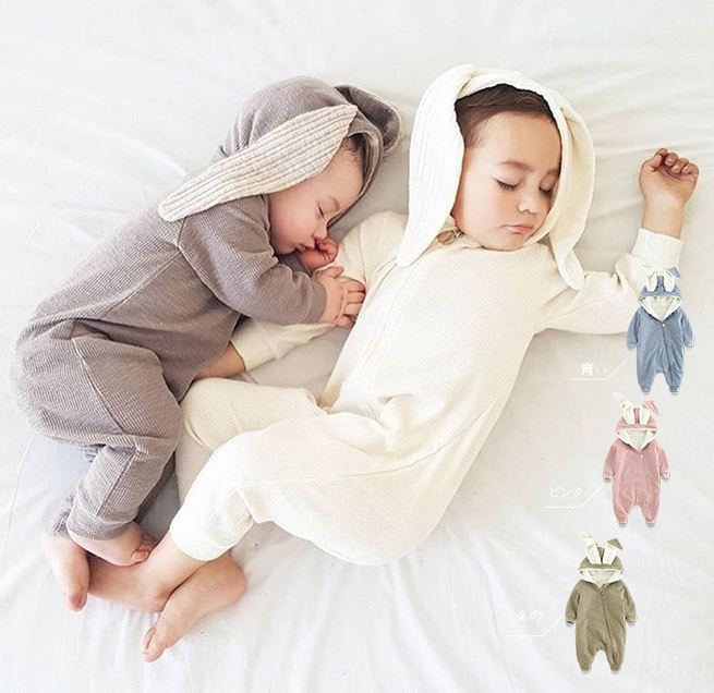 Thicken Winter Long Sleeve Rabbit Ears Baby Rompers Warm Jumpsuits Cotton Fleece Newborn Baby Clothes Boys Girls Cute Costume hhtu brand baby rompers boys girls clothing quilted long sleeve jumpsuits newborn clothes boneless sewing children cotton winter