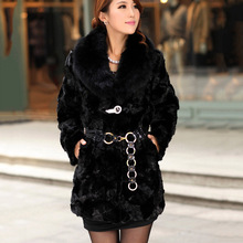 Autumn Winter Women's Natural Piece Mink Fur Jacket Coat with Fox Fur Collar Female Warm Outerwear Lady Garment freeship CW3038