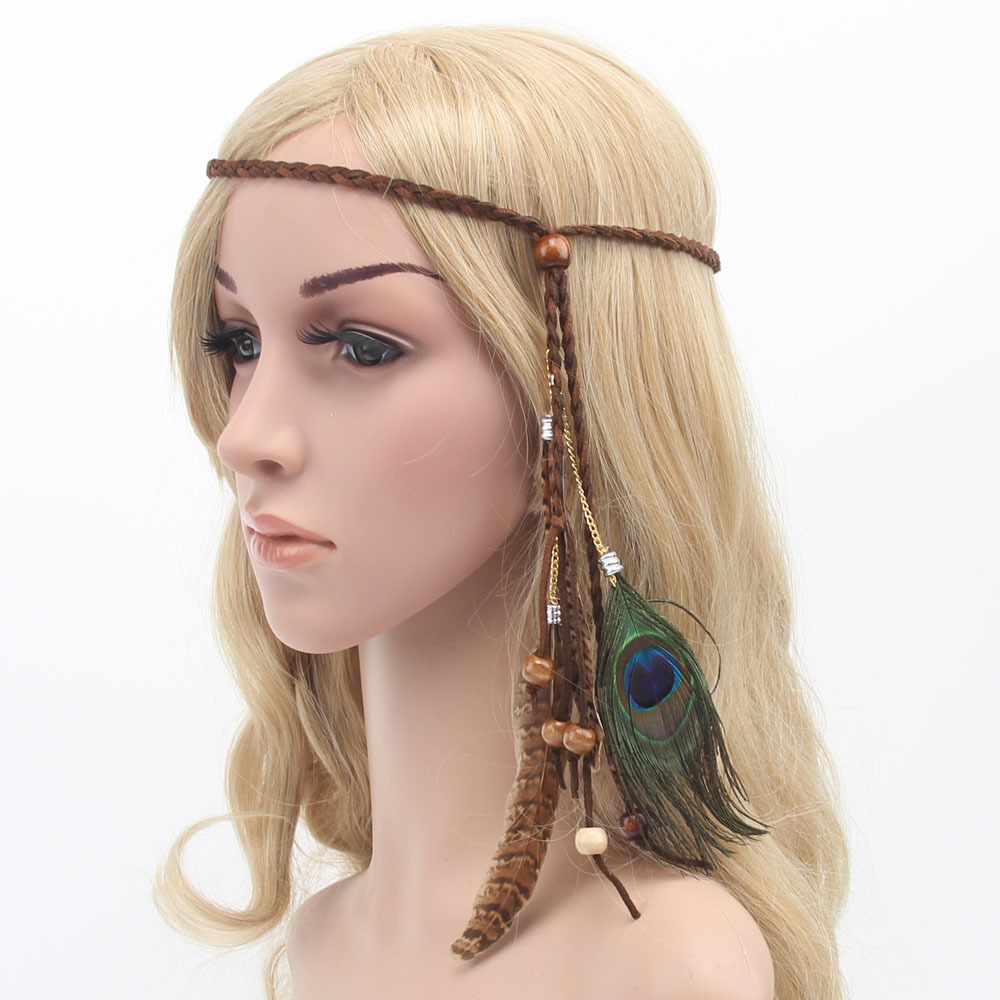 Fabulous Bohemia Peacock Feather Headband Women Beads Hair Rope Ethnic Indian Style Hair Band Carnival Festival Hair Accessories