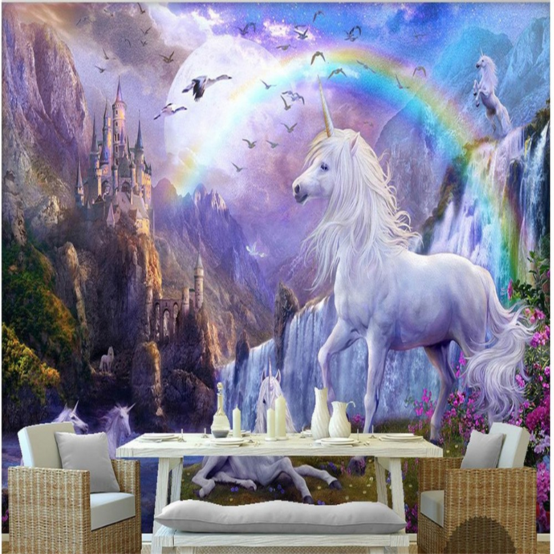 Купить с кэшбэком wellyu Blue Aperture Custom 3D Wallpaper 3D Photo Mural Wallpaper Sky Falls Animal White Horse Wallpaper Landscape 3D