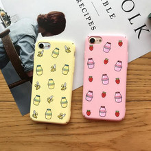 Para Iphone 6 S 6 6s 6 más 7 7plus 8 8plus Banana leche y fresa Pc funda de teléfono dura Fundas Coque(China)