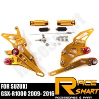 Для SUZUKI GSX R1000 2009 2016 GSXR1000 Задние подножки для ног подножки педали аксессуары для мотоциклов CNC регулируемый Rearset
