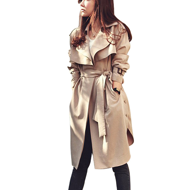 Spring Autumn Women Trench Coat 2017 New Fashion Long Outwear Plus Size Waist Slim Trench Coat for Women With Belt Female Coat