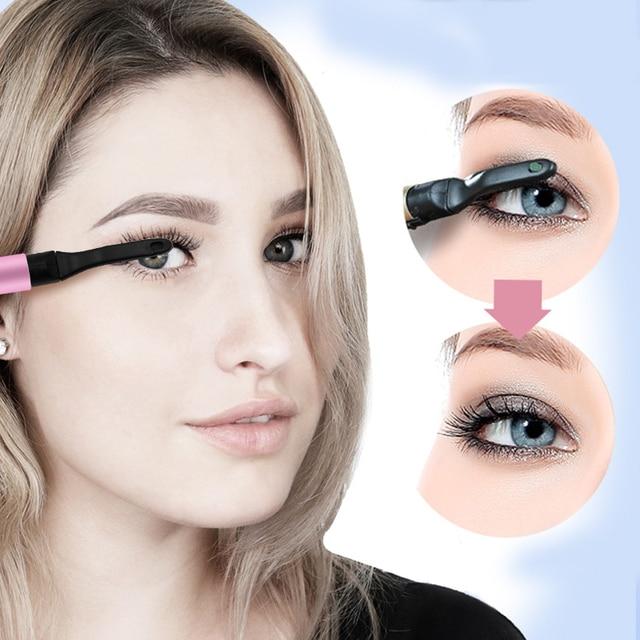 Purple Pink Portable Pen Style Electric Perm Heated Eyelash Curler Long Lasting Eye lash Curler Makeup Curling Kit For Women 2