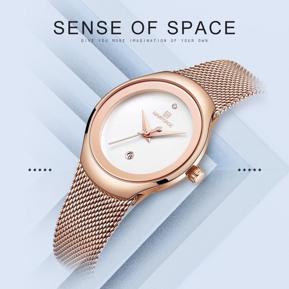NAVIFORCE Women's Watches Fashion Girl Wristwatch Luxury Quartz Watch Women Stainless Steel Mesh Bracelet Clock Bayan Kol Saati (1)