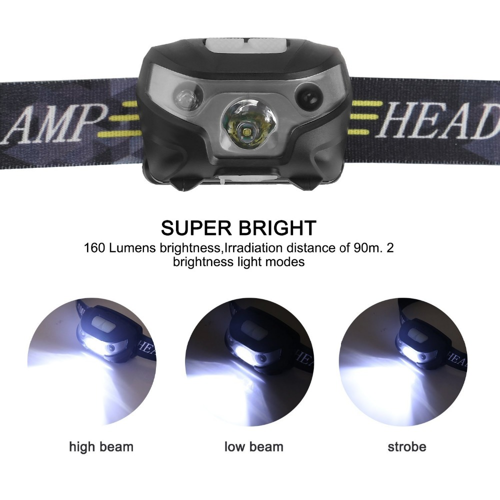 Image 3 - new Mini Rechargeable LED Headlamp Headlight Body Motion Sensor Led Head Lamp Camping Flashlight Waterproof for Running Light-in Headlamps from Lights & Lighting