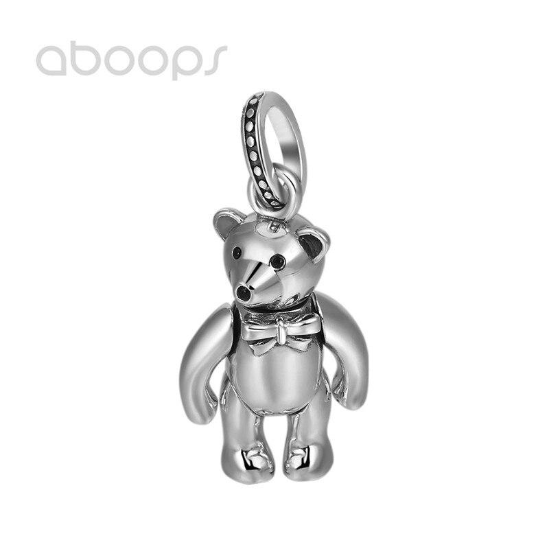 Винтажный кулон из стерлингового серебра 925 пробы Мишка на шарнирах для мужчин и женщин Бесплатная доставка