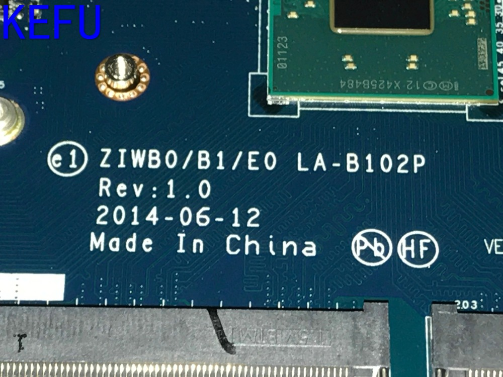 KEFU 100% NEW FREE SHIPPING ZIWB0/B1/E0 LA-B102P laptop Motherboard For LENOVO B50-30 NOTEBOOK PC  WITH PROCESSOR N3530 hot new free shipping h000052580 laptop motherboard fit for toshiba satellite c850 l850 notebook pc video chip 7670m