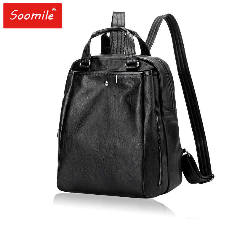 Genuine leather Women Backpacks 2018 fashion black leather Backpacks  student bags For Teenagers Girls Female Travel 30d367a9d234