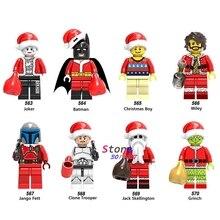 Único santa Natal Menino Coringa Wiley Jango Fett Jack Skellington Clone Trooper modelos blocos de construção de tijolos brinquedos para as crianças