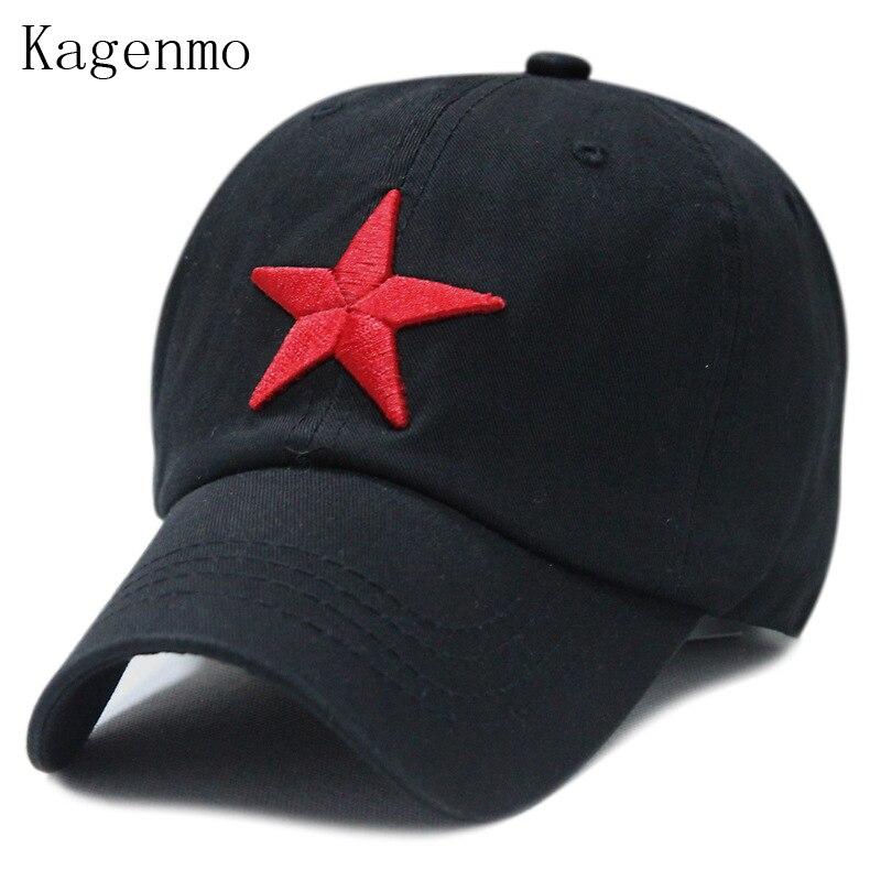Prix pour Kagenmo Lavé coton rouge star baseball chapeau pentagramme broderie loisirs chapeau 6 couleur 1 pcs marque nouveau arrivent