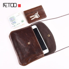 AETOO Vintage Handmade Leather first layer of Leather Mini Small Bag Satchel Bag female mobile phone bag