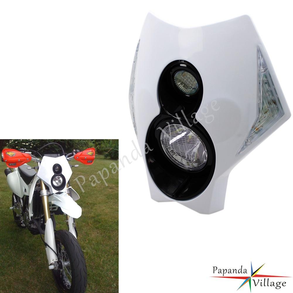 White Headlight Fairing H3 12V Motocross Off-Road Headlight LED Indicator For Honda Kawasaki Suzuki Yamaha KTM WR 450 250 YZ TTR