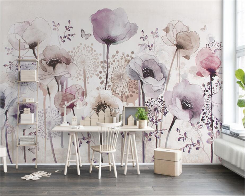 Fantastic Wallpaper High Quality Aesthetic - beibehang-High-quality-silk-cloth-papel-de-parede-3d-wallpaper-Aesthetic-watercolor-hand-painted-style-lilac  Pic_115418.jpg