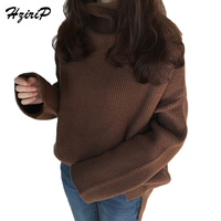 HziriP Casual Knitted Turtleneck Sweater For Women Large Size 2017 Autumn Full Sleeve Solid Color Woman