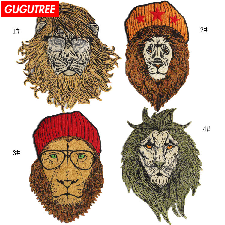 GUGUTREE embroidery big patches lion head badges for jackets