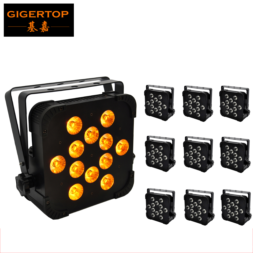 TIPTOP 10 Pack 12x15W 5IN1 Stage Led Par Light China Produce DJ SlimPAR 64 RGBAW Slim DMX LED Par 64 Wash Light Extremely Bright chauvet dj slim par 64 rgba