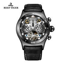 Reef Tiger/RT Mens Sport Watches Skeleton Tourbillon Watches with Year Month Calendar Automatic Watches RGA703 reef tiger rt luminous casual watches perpetual calendar rubber strap blue dial watches automatic sport watches rga3532