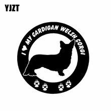 YJZT 15CM * 15CM kocham mój sweter Welsh Corgi pies Vinyl materiał naklejki samochodowe czarny/srebrny C2-3234