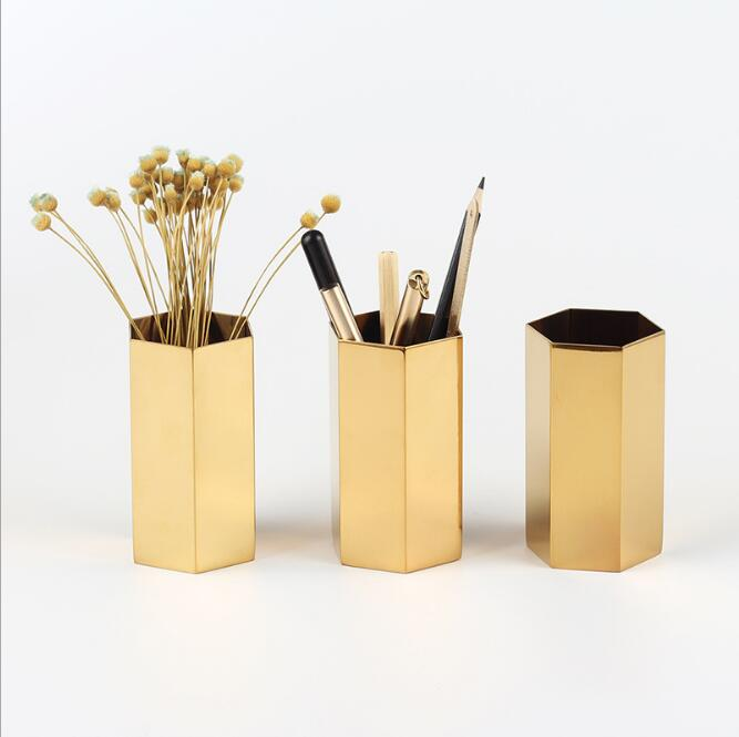 Hexagon Pencil Holder Stainless Steel Flower Vase Golden Flower Vase Metal Storage Super Hot Ins Home Office Decorations 041365