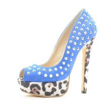 2015 Fashion Style Solid Women's Stiletto  Heel Women Shoes Peep Toe With Rivets Leopard  Heel zapatos mujer Pumps